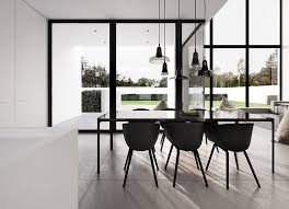 modern black dining table and chairs living home interior design minimal black and white architecture single