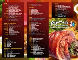 Restaurant To Go Menus Restaurant Menu Pepetons Grill And Catering