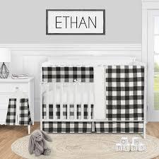 black and white 5 piece crib bedding