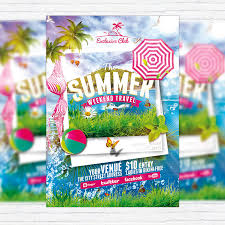 the summer weekend travel premium flyer template facebook cover