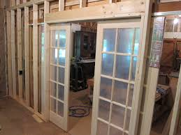 unfinished custom french sliding doors with frosted glass insert for small and narrow house design ideas