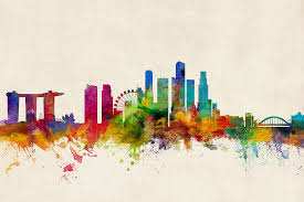 singapore digital art singapore skyline by michael tompsett