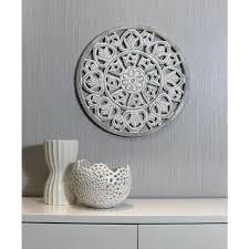 arthouse white washed wooden medallion
