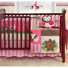 woodland pink and brown owl forest piece crib bedding set