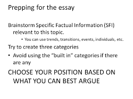 body paragraphs prepping for the essay brainstorm specific  prepping for the essay brainstorm specific factual information sfi relevant to this topic