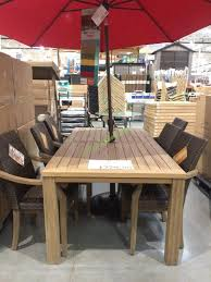 7pc teak dining set with woven stacking