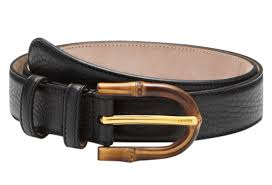 Gucci Womens Bamboo Buckle Black Leather Belt