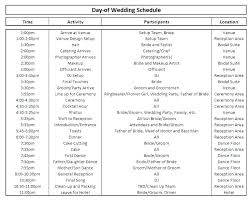 Party Agenda Templates Wedding Party Schedule Template Wedding Reception Timeline