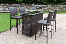 brown synthetic resin wicker patio bar