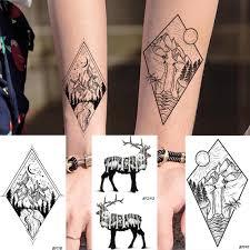 Rejaskiчерные наклейки на тату с высоким горным рисунком для мужчин