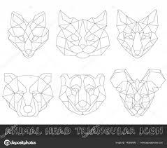 геометрические головы животных дизайн животных треугольный значок