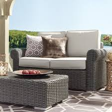Barbados Wicker Outdoor Cushioned Grey Charcoal Loveseat with Rolled Arm  iNSPIRE Q Oasis - Free Shipping Today - Overstock.com - 19489628
