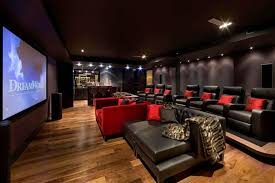 cool home office ideas mixed. home decor ideas theater design wooden floor mixed black and red sofas cool office