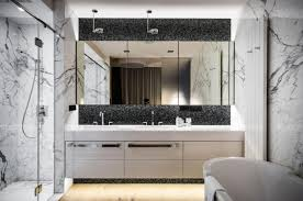 frameless large bathroom mirror with mosaic wall tiles above double sink mounted vanity also freestanding bathtub double mirror bathroom m60 mirror