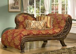 Floral Pattern Fabric Chaise Lounge Chairs In Brown And Red Color Having  Backrest Combined By Carved Polished Wooden Frame Base On Laminate Classic  Di Liddo ...