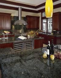 Kitchen Lake Superior Green Granite Countertops Glossy Range Hood