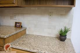 Tile Backsplashes With Granite Countertops Enchanting Crema Marfil Tile With Giallo Ornamental Granite Counter Top