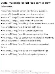 Fast Food Sample Resume Fast Food Server Food Restaurant Resume