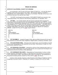 Sample Certificate Of Service Template Magnificent Proof Of Service California IWork Lawyer