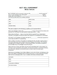 Purchase Agreement Form Seller For Vehicle Car Template And