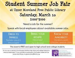 High School Student Summer Jobs Student Summer Job Fair At Upper Moreland Free Public Library