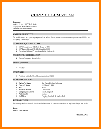 Resume Format For Bcom Students With No Experience Menu And Resume