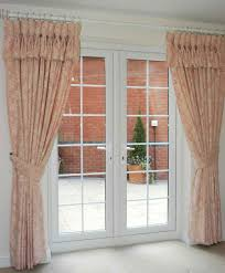 fascinating french door window treatments with pnk fl curtain and red brick wall idea