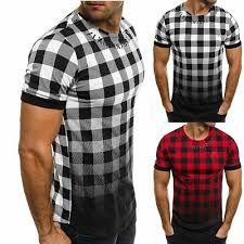 <b>Men's</b> Slim Fit <b>Short Sleeve</b> Muscle Tee Tartan Plaid T-<b>shirt</b> Casual ...