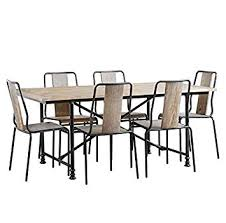my furniture set industrial dining table 6 chairs reclaimed wood steel renoir amazon co uk kitchen home