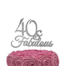40 Fabulous Cake Topper Glittery Silver 40th Birthday Cake