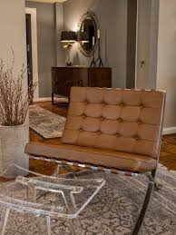 Barcelona Chair and Lucite Footstool in Traditional Room