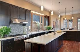 Kitchens With Dark Cabinets And Light Countertops Photo On Decorating