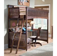 Bedroom: Classic Style Full Size Loft Bed With Wooden Stairs And Desk  Underneath - Full