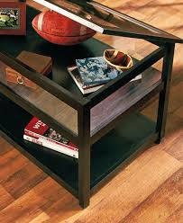 black coffee table display glass top