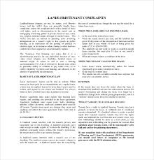 12 Complaint Letter To Landlord Free Sample Example Format