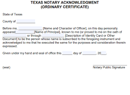 free texas notary acknowledgement