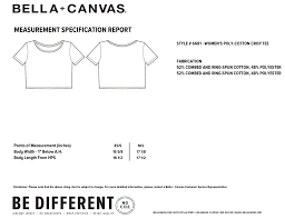 Bella Canvas T Shirt Size Chart Poloche Womens Poly Cotton Cropped Tee