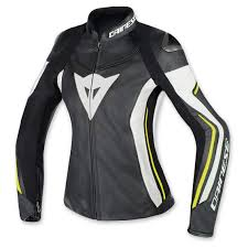 dainese women s assen black white fluo yellow leather jacket