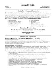 appealing controller and divisional controller resume example with  education and credentials a part of under finance