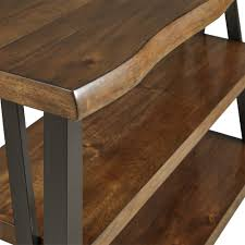 The bottom shelf of a coffee table can be simpler than the display on the top of the table. Banyan Live Edge Wood And Metal Console Sofa Table Bookshelf By Inspire Q Artisan On Sale Overstock 13768910