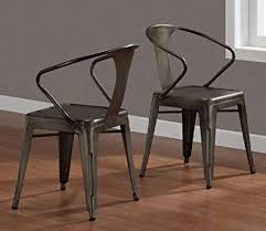 vine tabouret stacking chair set of 4 steel brown metal