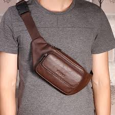 brown Designed For Men <b>Classic</b> Leather <b>Waist Pack Fanny Pack</b> ...