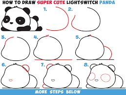 drawing step by step for beginners. Perfect Step How To Draw A Super Cute Kawaii Panda Bear Laying Down Easy Step By  Drawing In By For Beginners