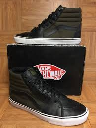 rare vans sk8 hi tech loden olive army green boot black leather sz 13