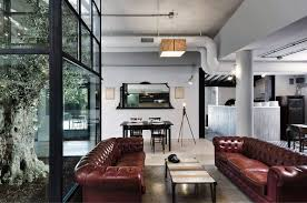 Home Interiors:Industrial Themed Loft Interior Design With Wooden Wall  Design Awesome Industrial Home Design