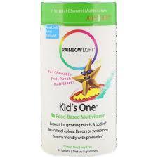 rainbow light kid s one food based multivitamin fruit punch 90 tablets