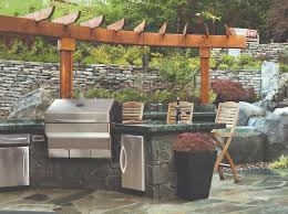 outdoor kitchen with tv coquitlam garden with memphis grills
