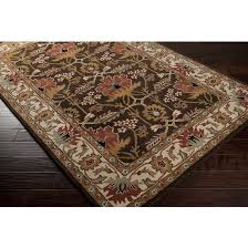 details about 5x8 arts crafts william morris style chocolate brown wool area rug