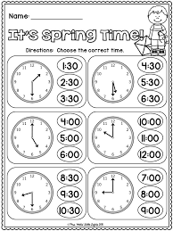 FREE! It's Spring Time! Telling Time to the Hour and Half Hour ...