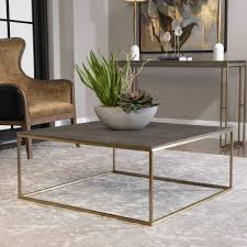 | 60 w coffee table teak wood natural brown tones root square 109. Grey Shagreen Brass Square Coffee Table